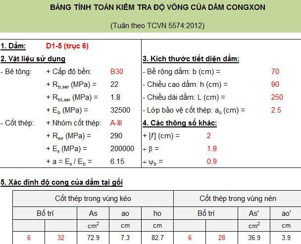 Bảng tính toán kiểm tra độ võng của dầm