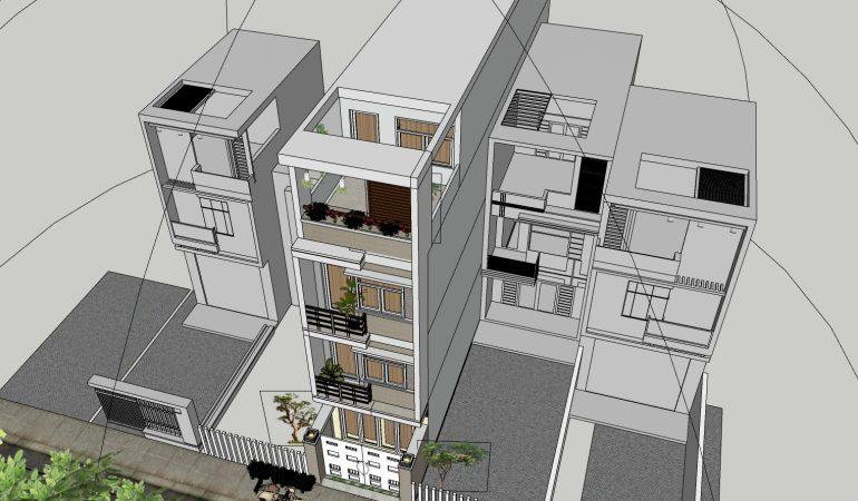 Xây dựng nhà phố với mẫu thiết kế 4 tầng đơn giản hiện đại