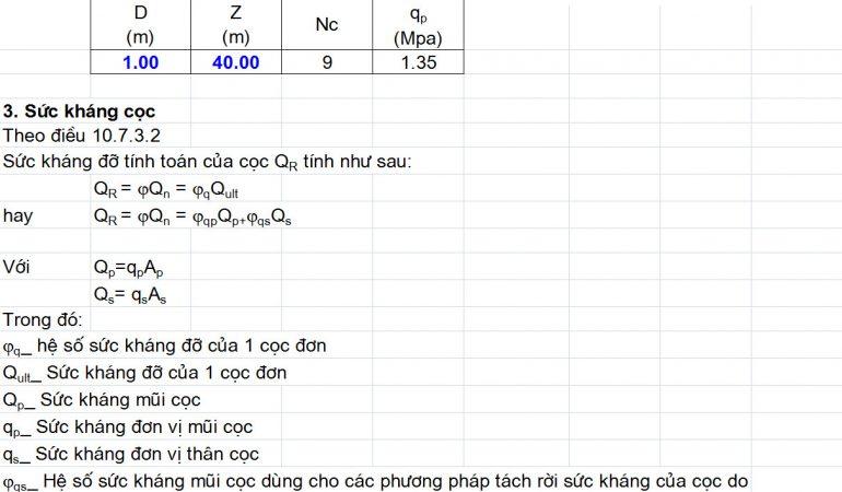 Bảng tính sức kháng của cọc khoan nhồi theo tiêu chuẩn thiết kế 22TCN-272-05
